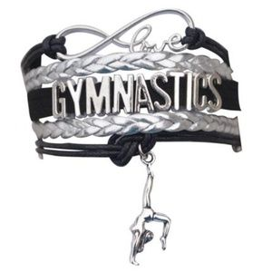 Girls Gymnastics Bracelet - Black & Silver